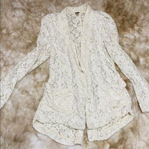 Free people floral lace pocket cardigan